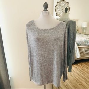 Old Navy gray knit long sleeve open back top XL
